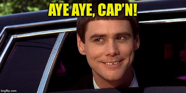 dumb and dumber | AYE AYE, CAP'N! | image tagged in dumb and dumber | made w/ Imgflip meme maker