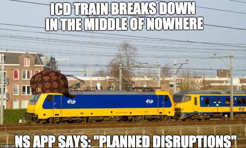 "ICD TRAIN BREAKS DOWN IN THE MIDDLE OF NOWHERE NS APP SAYS: ""PLANNED DISRUPTIONS"" 