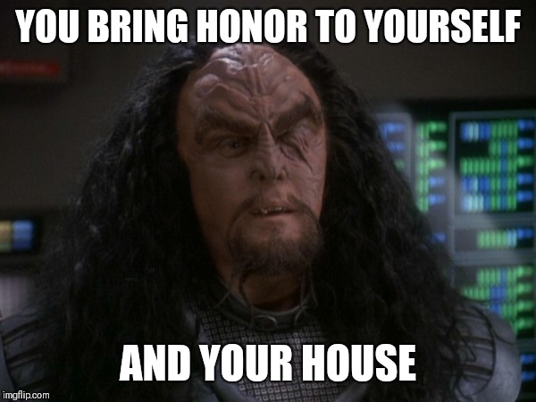 YOU BRING HONOR TO YOURSELF AND YOUR HOUSE | image tagged in martok | made w/ Imgflip meme maker