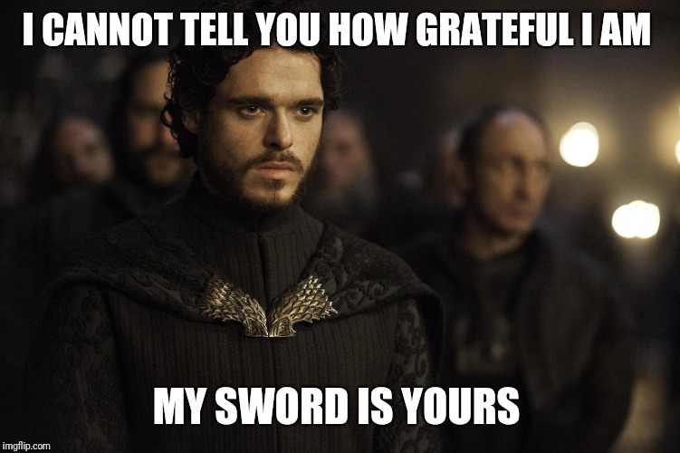 Robb Stark Red Wedding | I CANNOT TELL YOU HOW GRATEFUL I AM MY SWORD IS YOURS | image tagged in robb stark red wedding | made w/ Imgflip meme maker