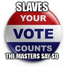 Vote | SLAVES THE MASTERS SAY SO | image tagged in vote | made w/ Imgflip meme maker