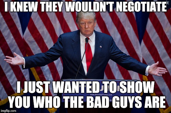 It probably won't work , Never-Trumpers are blind | I KNEW THEY WOULDN'T NEGOTIATE I JUST WANTED TO SHOW YOU WHO THE BAD GUYS ARE | image tagged in donald trump,let's make a deal trump,build a wall,threat to our national secuirty | made w/ Imgflip meme maker
