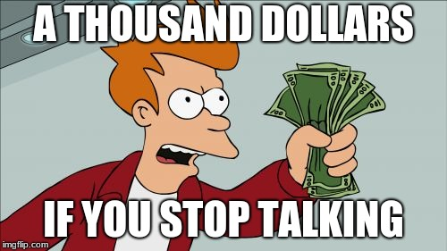 Shut Up And Take My Money Fry Meme | A THOUSAND DOLLARS IF YOU STOP TALKING | image tagged in memes,shut up and take my money fry | made w/ Imgflip meme maker