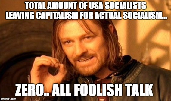 truth bomb | TOTAL AMOUNT OF USA SOCIALISTS LEAVING CAPITALISM FOR ACTUAL SOCIALISM... ZERO.. ALL FOOLISH TALK | image tagged in memes,one does not simply | made w/ Imgflip meme maker