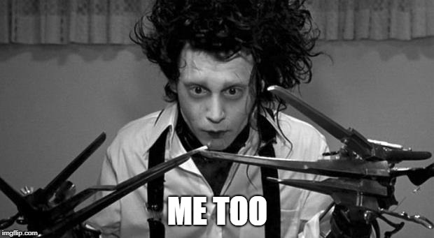 Edward Scissorhands | ME TOO | image tagged in edward scissorhands | made w/ Imgflip meme maker