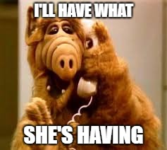 alf | I'LL HAVE WHAT SHE'S HAVING | image tagged in alf | made w/ Imgflip meme maker
