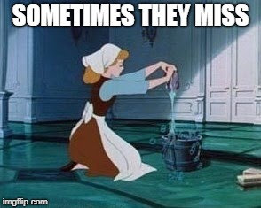 Cinderella Cleaning | SOMETIMES THEY MISS | image tagged in cinderella cleaning | made w/ Imgflip meme maker