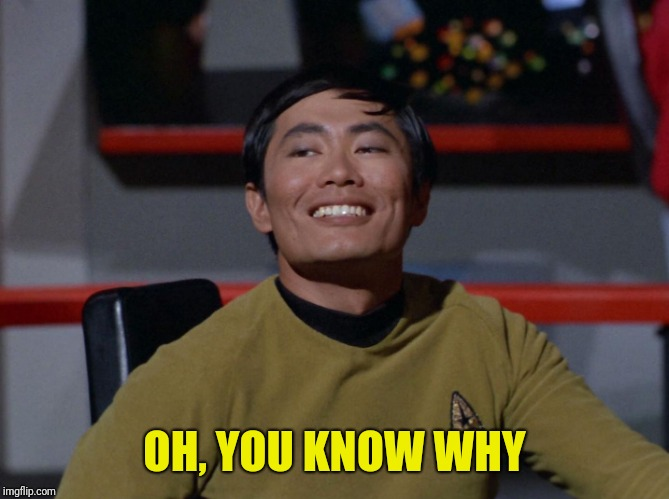 Sulu smug | OH, YOU KNOW WHY | image tagged in sulu smug | made w/ Imgflip meme maker