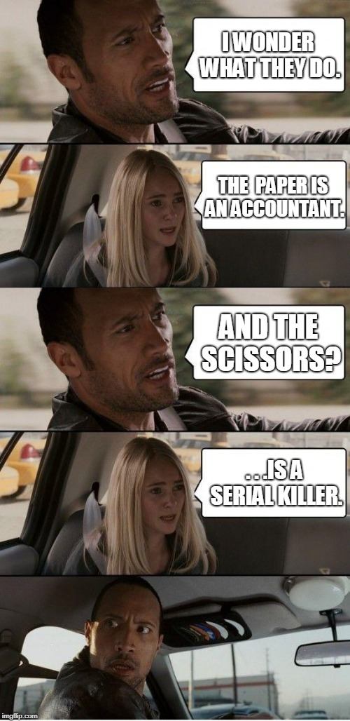 I WONDER WHAT THEY DO. THE  PAPER IS AN ACCOUNTANT. AND THE SCISSORS? . . .IS A SERIAL KILLER. | made w/ Imgflip meme maker