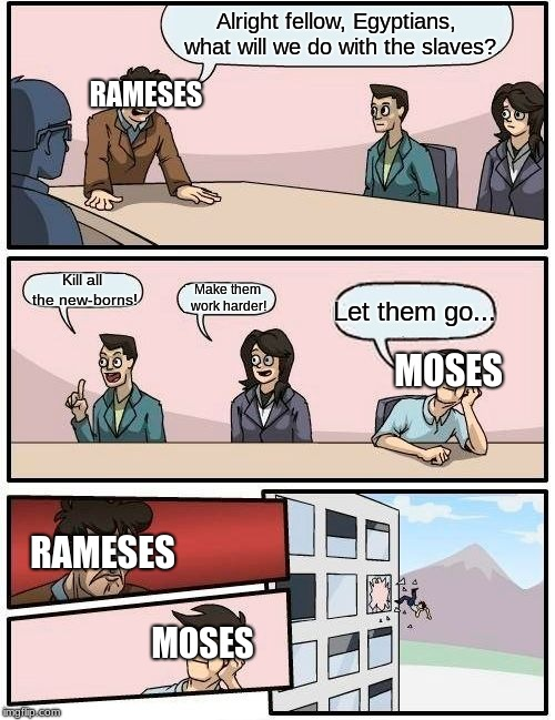 Boardroom Meeting Suggestion | Alright fellow, Egyptians, what will we do with the slaves? Kill all the new-borns! Make them work harder! Let them go... RAMESES MOSES RAME | image tagged in memes,boardroom meeting suggestion,moses,the prince of egypt | made w/ Imgflip meme maker