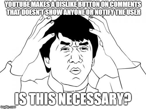 Jackie Chan WTF Meme | YOUTUBE MAKES A DISLIKE BUTTON ON COMMENTS THAT DOESN'T SHOW ANYONE OR NOTIFY THE USER IS THIS NECESSARY? | image tagged in memes,jackie chan wtf | made w/ Imgflip meme maker