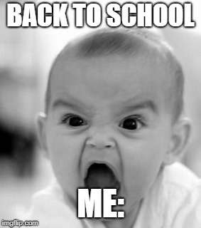 Angry Baby | BACK TO SCHOOL ME: | image tagged in memes,angry baby | made w/ Imgflip meme maker
