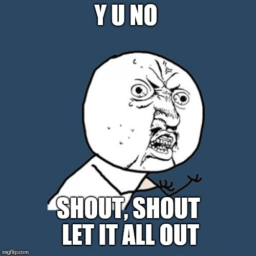 Y U No Meme | Y U NO SHOUT, SHOUT LET IT ALL OUT | image tagged in memes,y u no | made w/ Imgflip meme maker