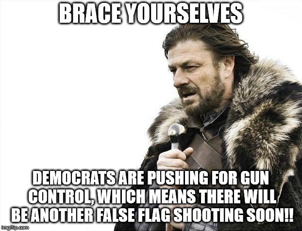 Brace Yourselves Another False Flag Shooting is Coming | BRACE YOURSELVES DEMOCRATS ARE PUSHING FOR GUN CONTROL, WHICH MEANS THERE WILL BE ANOTHER FALSE FLAG SHOOTING SOON!! | image tagged in memes,brace yourselves x is coming,gun control | made w/ Imgflip meme maker