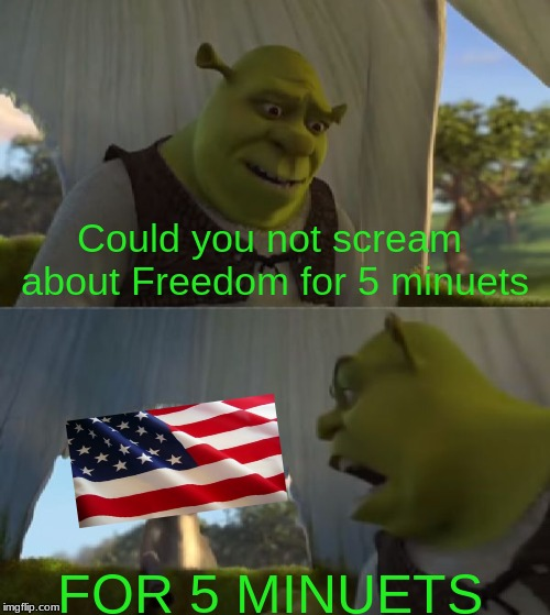 FREEDOM | Could you not scream about Freedom for 5 minuets FOR 5 MINUETS | image tagged in could you not ___ for 5 minutes,memes,funny memes,shrek,other | made w/ Imgflip meme maker
