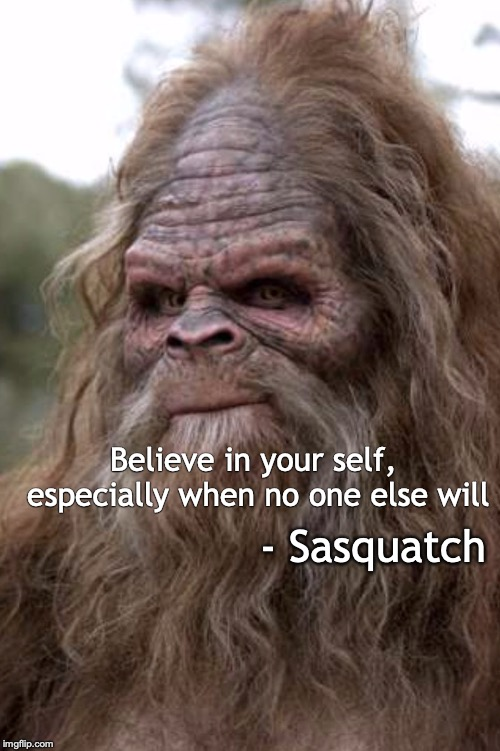Don't Stop Believing | Believe in your self, especially when no one else will - Sasquatch | image tagged in motivational,sasquatch,don't stop believing | made w/ Imgflip meme maker
