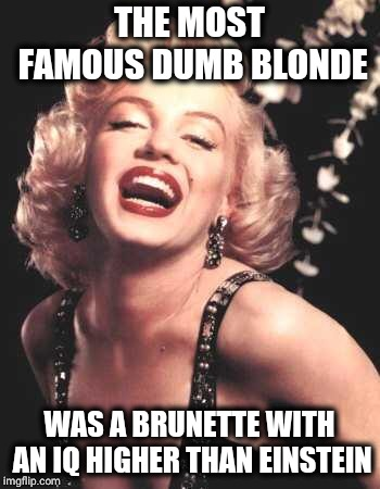 Marilyn Monroe  | THE MOST FAMOUS DUMB BLONDE WAS A BRUNETTE WITH AN IQ HIGHER THAN EINSTEIN | image tagged in marilyn monroe | made w/ Imgflip meme maker