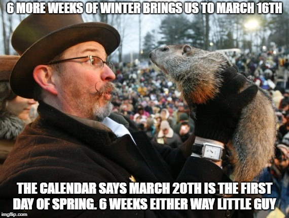 Punxsutawney Phil Always Wrong | 6 MORE WEEKS OF WINTER BRINGS US TO MARCH 16TH THE CALENDAR SAYS MARCH 20TH IS THE FIRST DAY OF SPRING. 6 WEEKS EITHER WAY LITTLE GUY | image tagged in punxsutawney phil,winter,winter is here | made w/ Imgflip meme maker