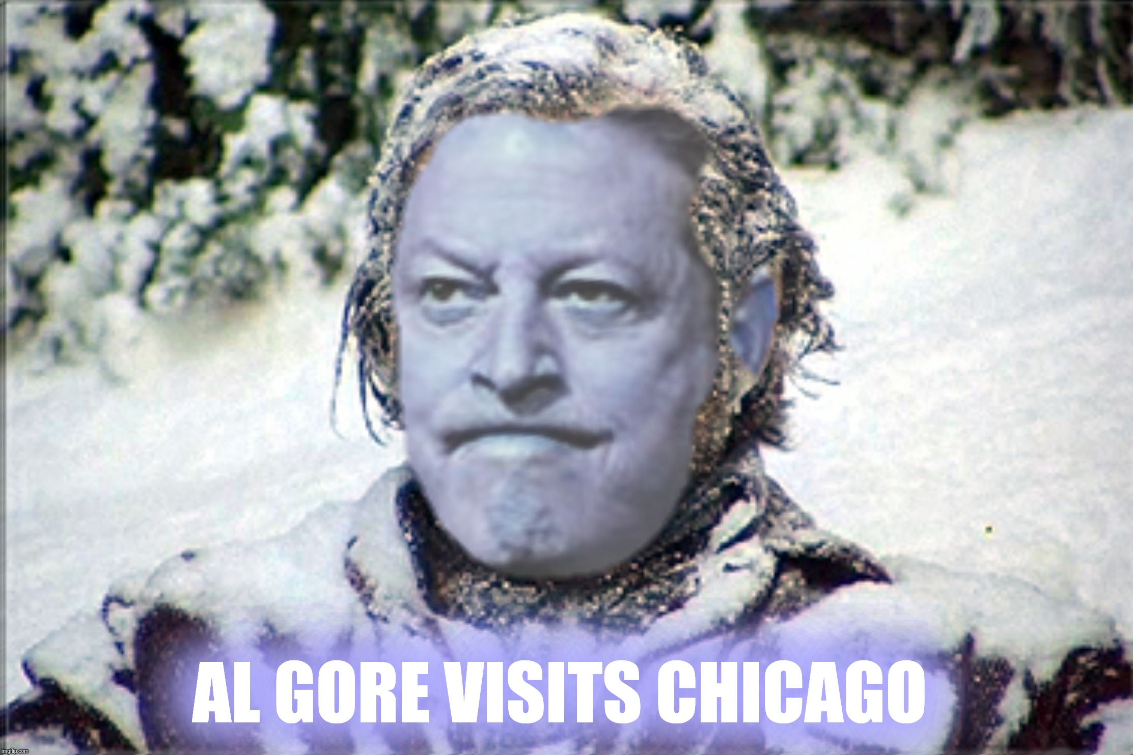 Bad Photoshop Sunday presents:  The face you make when you realize your beachfront property is probably safe. | AL GORE VISITS CHICAGO | image tagged in bad photoshop sunday,al gore,the shining | made w/ Imgflip meme maker