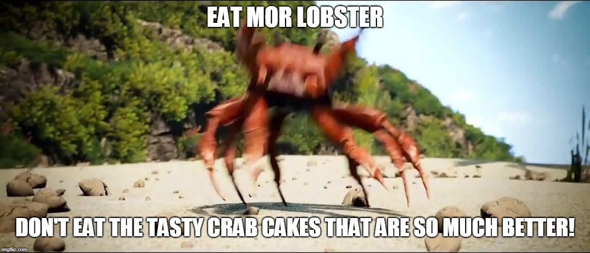 Crab Rave | EAT MOR LOBSTER DON'T EAT THE TASTY CRAB CAKES THAT ARE SO MUCH BETTER! | image tagged in crab rave | made w/ Imgflip meme maker
