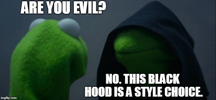 Evil Kermit | ARE YOU EVIL? NO. THIS BLACK HOOD IS A STYLE CHOICE. | image tagged in memes,evil kermit | made w/ Imgflip meme maker