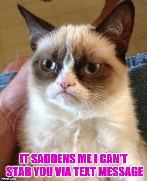 Grumpy Cat Meme | IT SADDENS ME I CAN'T STAB YOU VIA TEXT MESSAGE | image tagged in memes,grumpy cat | made w/ Imgflip meme maker