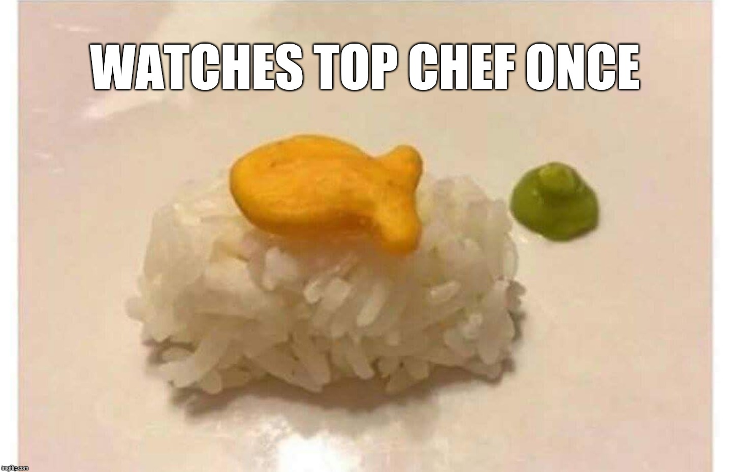 WATCHES TOP CHEF ONCE | image tagged in chef,funny food | made w/ Imgflip meme maker