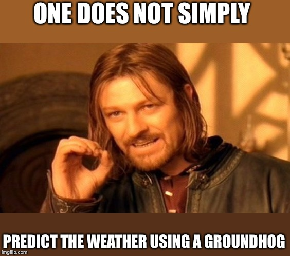One Does Not Simply Meme | ONE DOES NOT SIMPLY PREDICT THE WEATHER USING A GROUNDHOG | image tagged in memes,one does not simply | made w/ Imgflip meme maker