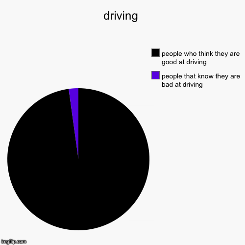 driving | people that know they are bad at driving, people who think they are good at driving | image tagged in funny,pie charts | made w/ Imgflip chart maker