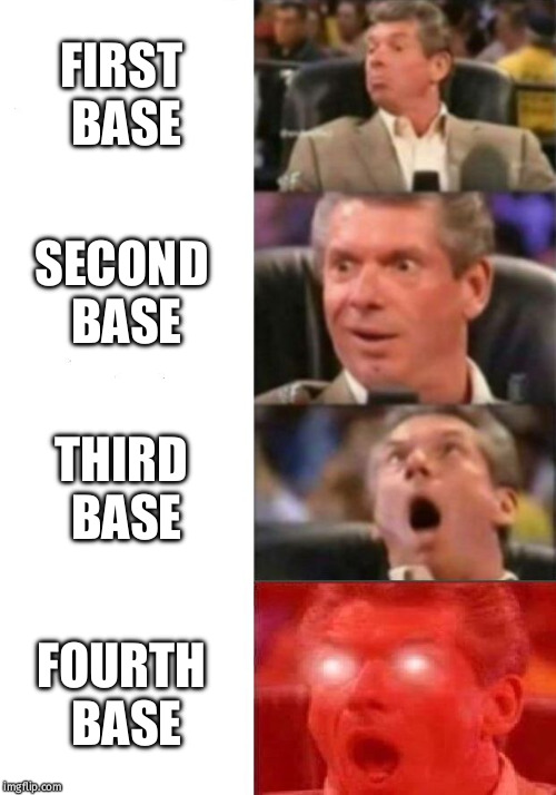 Mr. McMahon reaction | FIRST BASE SECOND BASE THIRD BASE FOURTH BASE | image tagged in mr mcmahon reaction | made w/ Imgflip meme maker