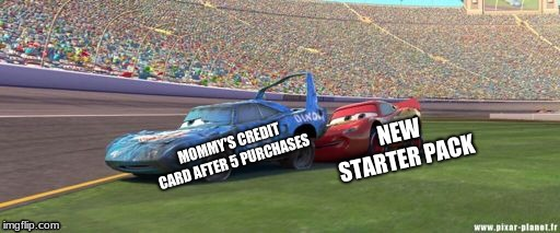 Mommy's credit card | MOMMY'S CREDIT CARD AFTER 5 PURCHASES NEW STARTER PACK | image tagged in lightning mcqueen,fortnite meme | made w/ Imgflip meme maker