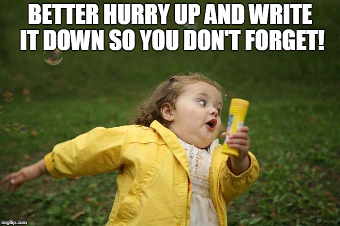 Hurry up | BETTER HURRY UP AND WRITE IT DOWN SO YOU DON'T FORGET! | image tagged in hurry up | made w/ Imgflip meme maker