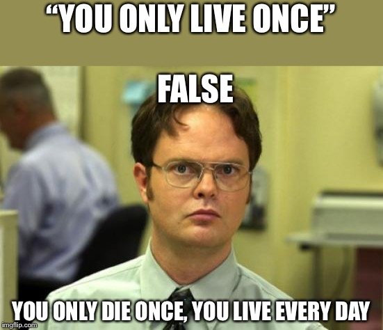 "You only live once? | ""YOU ONLY LIVE ONCE"" YOU ONLY DIE ONCE, YOU LIVE EVERY DAY FALSE 