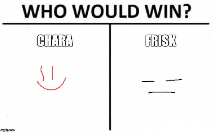 Who Would Win? Meme | CHARA FRISK | image tagged in memes,who would win | made w/ Imgflip meme maker