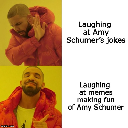 Drake Hotline Approves | Laughing at Amy Schumer's jokes Laughing at memes making fun of Amy Schumer | image tagged in drake blank,drake hotline approves,amy schumer,memes,funny | made w/ Imgflip meme maker