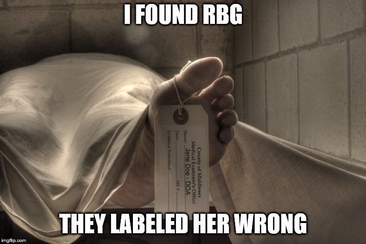 dead | I FOUND RBG THEY LABELED HER WRONG | image tagged in ruth bader ginsburg | made w/ Imgflip meme maker