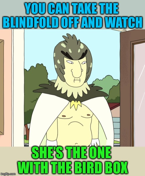 Birdman Rick and Morty | YOU CAN TAKE THE BLINDFOLD OFF AND WATCH SHE'S THE ONE WITH THE BIRD BOX | image tagged in birdman rick and morty | made w/ Imgflip meme maker