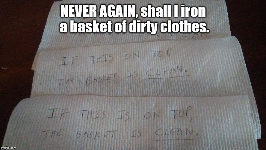 Did these come from the dryer? | NEVER AGAIN, shall I iron a basket of dirty clothes. | image tagged in dirty laundry | made w/ Imgflip meme maker