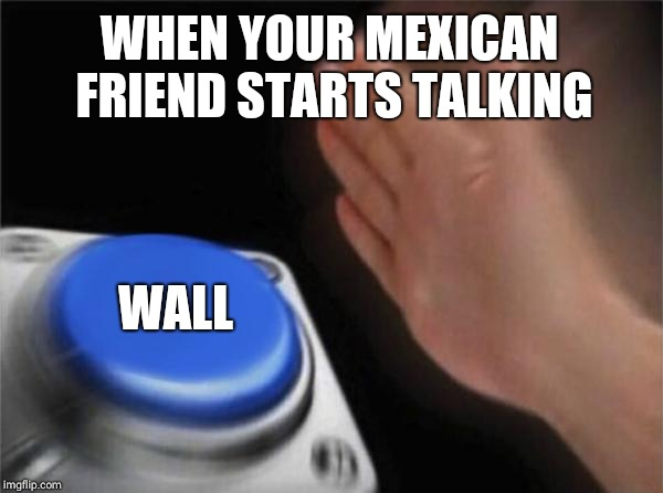 Blank Nut Button Meme | WHEN YOUR MEXICAN FRIEND STARTS TALKING WALL | image tagged in memes,blank nut button | made w/ Imgflip meme maker