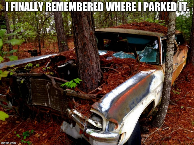 They say memory is the first thing to go. | I FINALLY REMEMBERED WHERE I PARKED IT. | image tagged in old car,bad memory | made w/ Imgflip meme maker