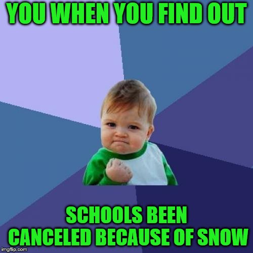 Success Kid | YOU WHEN YOU FIND OUT SCHOOLS BEEN CANCELED BECAUSE OF SNOW | image tagged in memes,success kid,school,snow,snow day,snowman | made w/ Imgflip meme maker