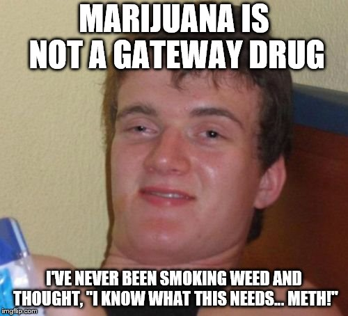 "10 Guy Meme | MARIJUANA IS NOT A GATEWAY DRUG I'VE NEVER BEEN SMOKING WEED AND THOUGHT, ""I KNOW WHAT THIS NEEDS... METH!"" 