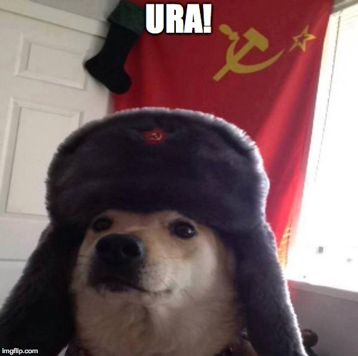 Russian Doge | URA! | image tagged in russian doge | made w/ Imgflip meme maker