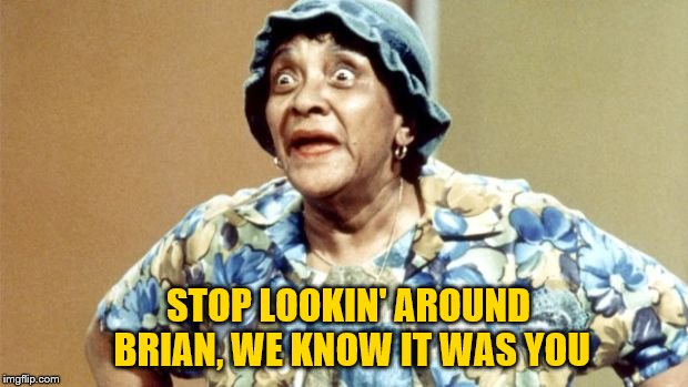 Salty Old Lady | STOP LOOKIN' AROUND BRIAN, WE KNOW IT WAS YOU | image tagged in salty old lady | made w/ Imgflip meme maker