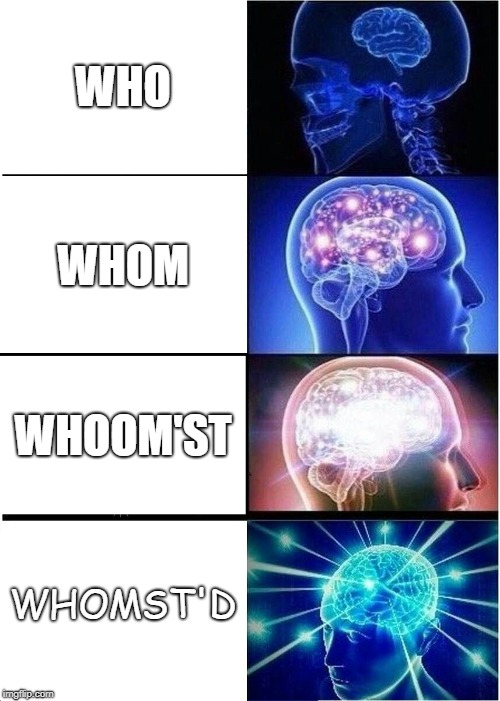 Expanding Brain Meme | WHO WHOM WHOOM'ST WHOMST'D | image tagged in memes,expanding brain | made w/ Imgflip meme maker