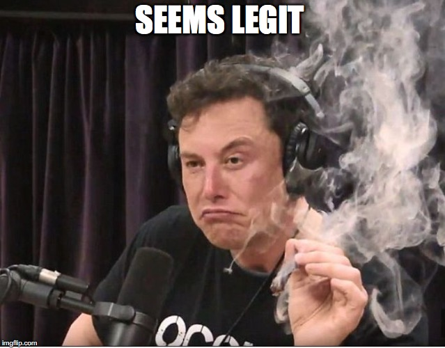 SEEMS LEGIT | image tagged in elon musk smoking a joint | made w/ Imgflip meme maker