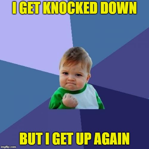 Success Kid Meme | I GET KNOCKED DOWN BUT I GET UP AGAIN | image tagged in memes,success kid | made w/ Imgflip meme maker