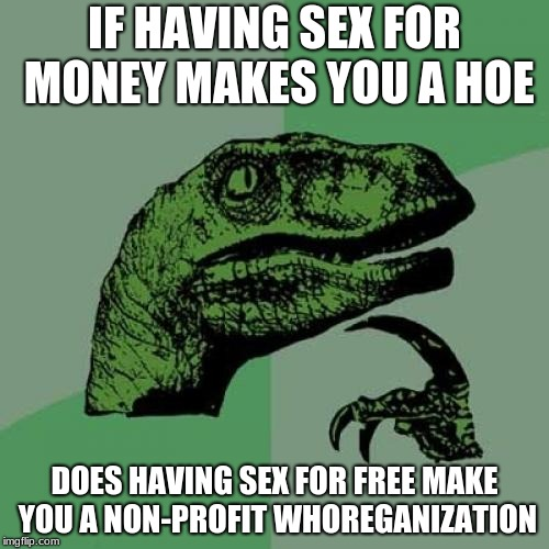 Philosoraptor Meme | IF HAVING SEX FOR MONEY MAKES YOU A HOE DOES HAVING SEX FOR FREE MAKE YOU A NON-PROFIT W**REGANIZATION | image tagged in memes,philosoraptor | made w/ Imgflip meme maker