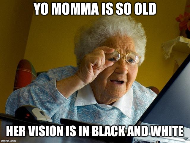 Grandma Finds The Internet Meme | YO MOMMA IS SO OLD HER VISION IS IN BLACK AND WHITE | image tagged in memes,grandma finds the internet | made w/ Imgflip meme maker
