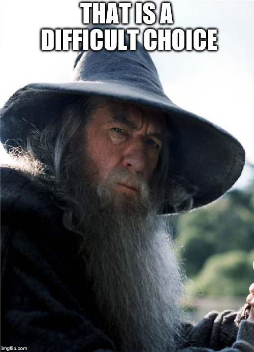 Gandalf No Other Choice | THAT IS A DIFFICULT CHOICE | image tagged in gandalf no other choice | made w/ Imgflip meme maker